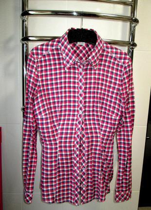 Рубашка в клетку/ блуза с камнями на воротнике