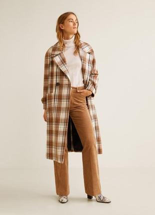 Новое шикарное двубортное длинное шерстяное пальто в клетку mango, шерстяне пальто