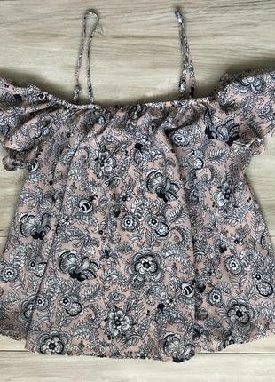 Шифоновый топ блуза открытые плечи