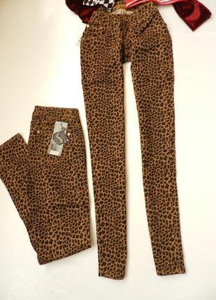 ✅классные модднявые джинсы леопардовый принт стрейч,тонкие на лето-осень