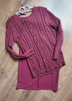 Красивый вязаный джемпер свитер размер м