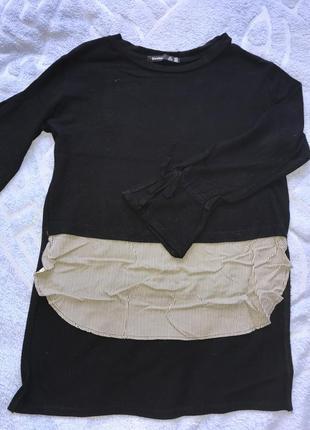 Кофта черная с полосатой вставкой bershka