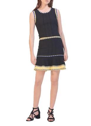 Sandro paris юбка с высокой посадкой винтаж миди мини брендовая черная желтая