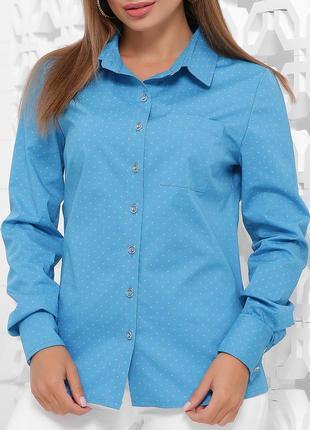 Женская стильная принтованная рубашка из коттона (1841 mrss)