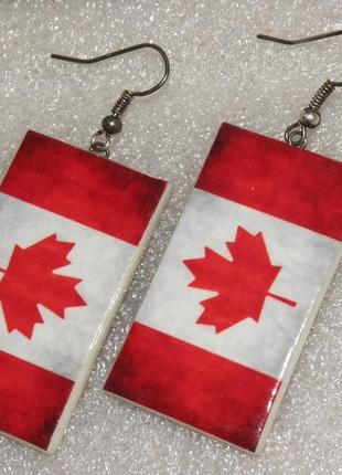 Серьги флаг канады