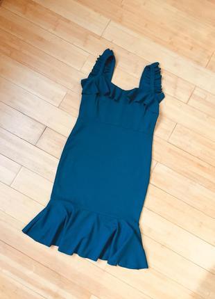 Платье с воланом цвета морской волны2 фото