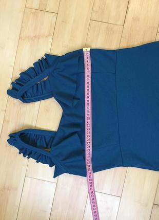Платье с воланом цвета морской волны4 фото