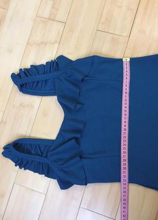Платье с воланом цвета морской волны5 фото