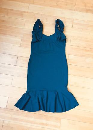 Платье с воланом цвета морской волны6 фото