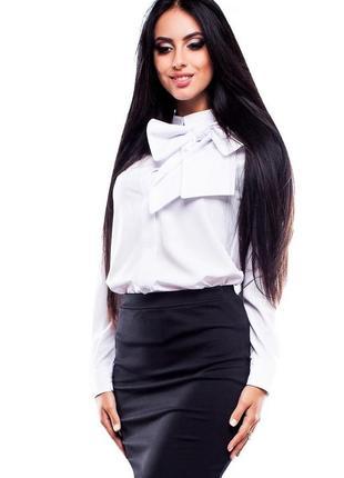 Нарядная рубашка с длинным рукавом блуза трикотаж шелк шифон свободного силуэта с бантом