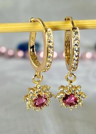 Позолоченные серьги с красными кристаллом и цирконами, сережки, позолота