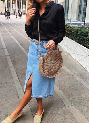 Юбка миди джинсовая с разрезом спереди