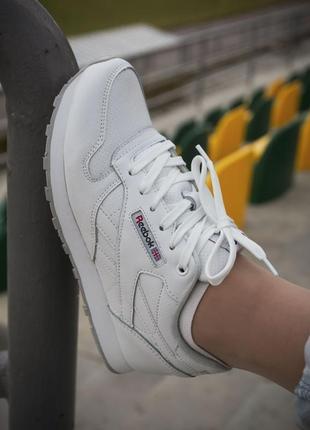 Базовые белые качественные женские кроссовки reebok classic
