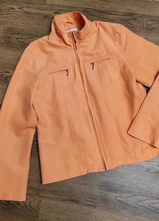 Легкая замшевая куртка пиджак жакет оранжевый тренд 2020