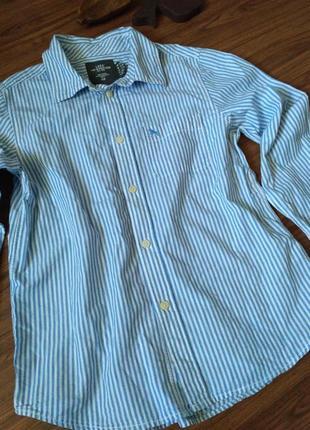 Коттоновая полосатая рубашка на мальчика 11-12лет h&m