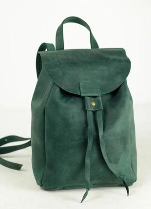Кожа. ручная работа. кожаный рюкзак, рюкзачок зеленый