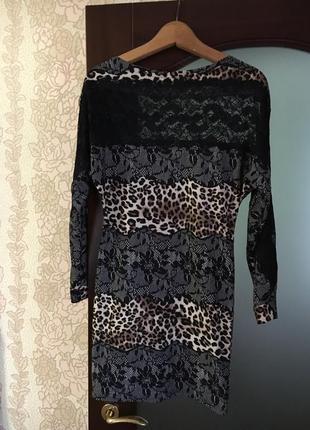Леопардовое нарядное платье.