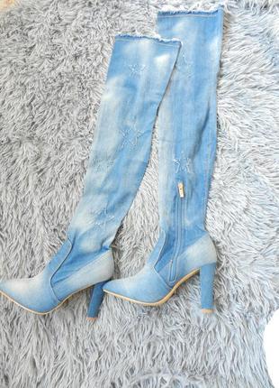 Шикарные ботфорты  джинс стрейч