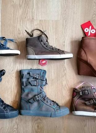 Распродажа остатков обуви сток, высокие кеды-ботинки, 2пары=500 грн