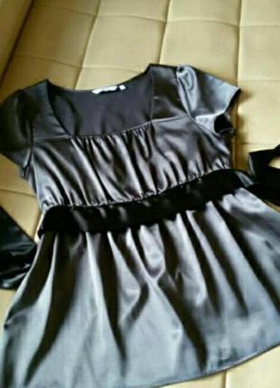 Блузка шоколадного цвета, атлас, размер 12