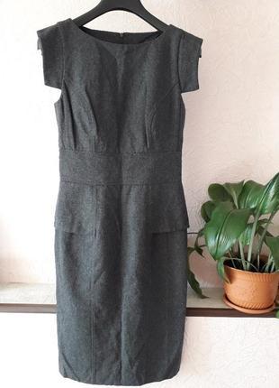 Женское теплое платье миди футляр шерсть zara демисезон осень зима повседневное