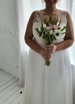 Свадебное платье 54-56 размера. цвет айвери