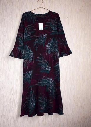 Елегантне плаття міді у квітковий принт, трикотаж, оборки