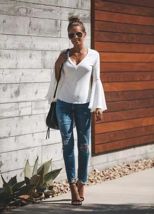 Белая рубашка расклешенный рукав. хлопковая блуза белая vero moda