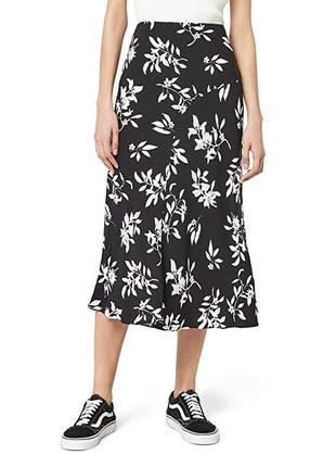 Чернобелая миди юбка в цветочный принт лилии
