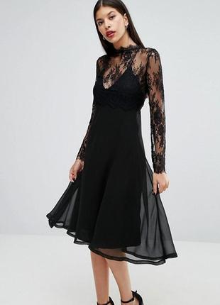Роскошное черное вечернее платье миди на тонких бретельках с кружевным топом asos