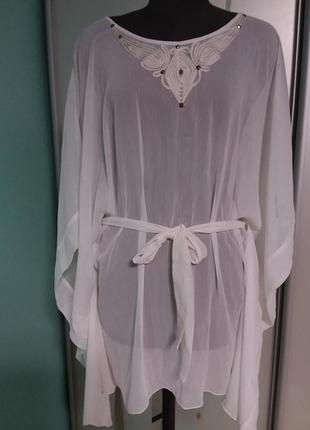 Белая шифоновая блуза-разлетайка с декором большого 20-26 размера