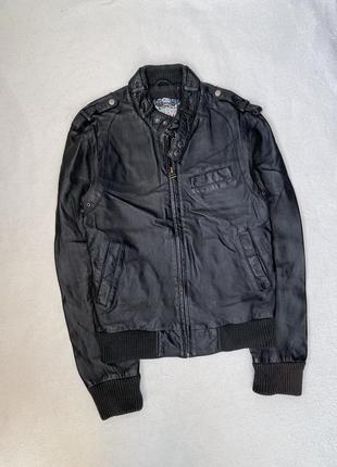Кожаная куртка river island размер s.