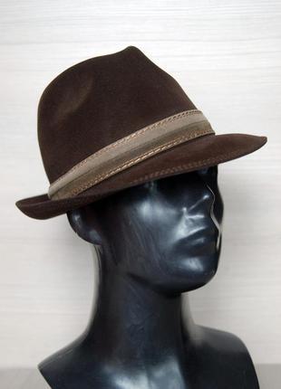 Трилби шоколадная шляпа mayser коричневая 100% шерсть