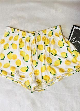 Пижамные шорти с лимонами яркие h&m хлопковые