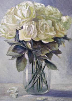 Картина маслом живопись белые розы