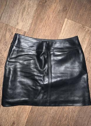 Кожаная юбка мини на подкладке gap blue jeans.