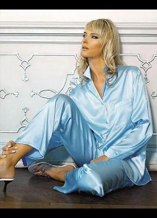 Тонкая сатинновая пижама с французским кружевом