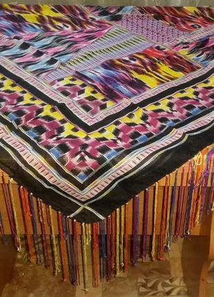Роскошный платок с бахромой, хлопок,  104х104