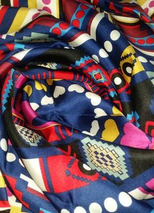 Роскошный шелковый платок,  85х86