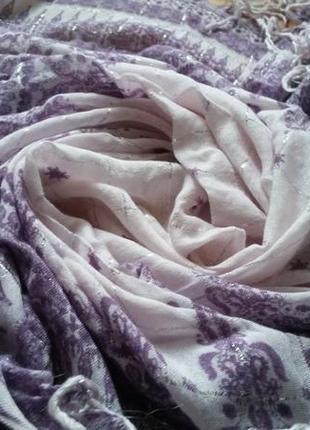 Красивый сиреневый платок с люрексом и бахромой , хлопок, 82х93