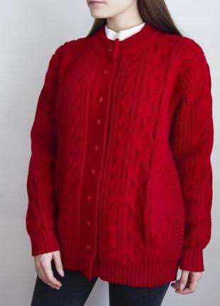 Кардиган алого цвета в винтажном стиле avant garde #розвантажуюсь6 фото