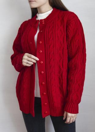 Кардиган алого цвета в винтажном стиле avant garde #розвантажуюсь7 фото