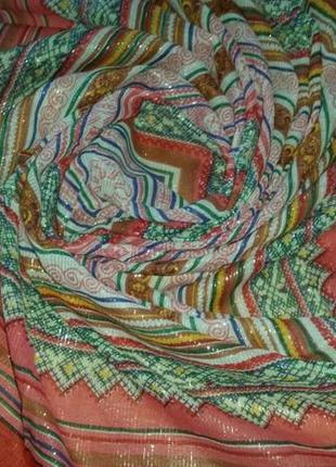 Роскошный платок с бахромой, люрекс, хлопок,  100х95