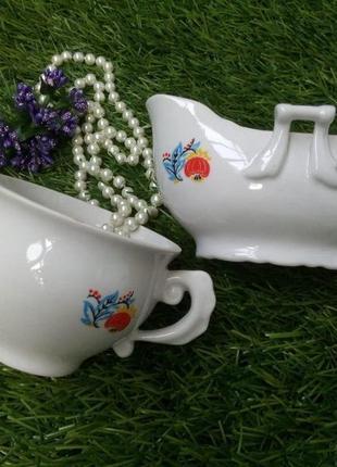 Чайный севиз (конфетница и сахарница) фарфоровый ссср коростенского завода