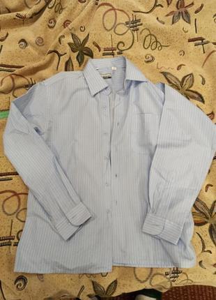 Небесного цвета рубашка в белую полоску
