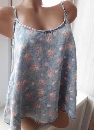 Крутая джинсовая майка,кроп топ цветочный принт  рр 46-50