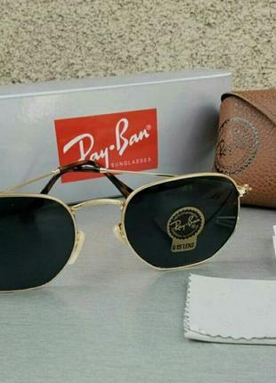 Солнцезащитные очки унисекс ray ban линзы стекло черные в золотой металлической оправе