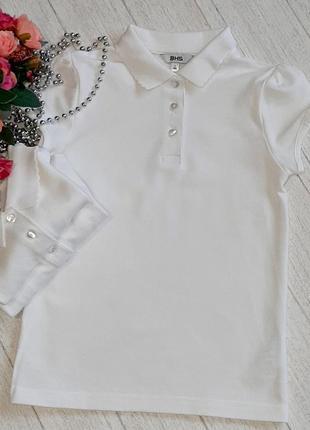 Белые поло футболкина девочку 7 лет