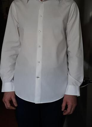 Рубашка burton menswear london. белая. р-48.