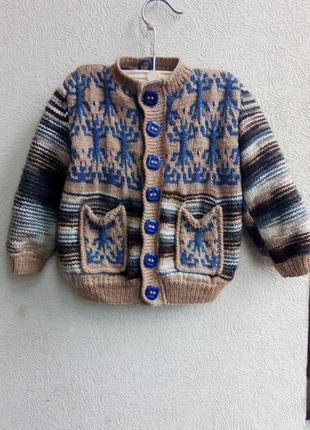 Теплющая вязаная шерстяная курточка на флисе